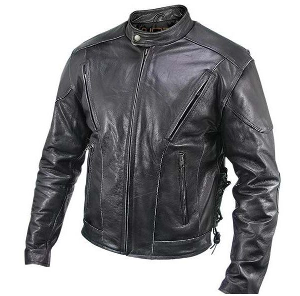 Leather motorcycle jacket.